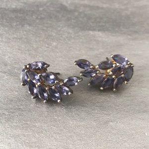 """""""Wing"""" shape light purple gem earrings"""